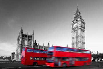 Naklejka Big Ben with red city buses in London, UK