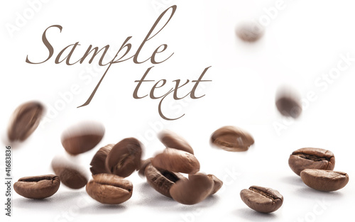 Poster Café en grains Jumping coffee beans, on white background (with sample text)