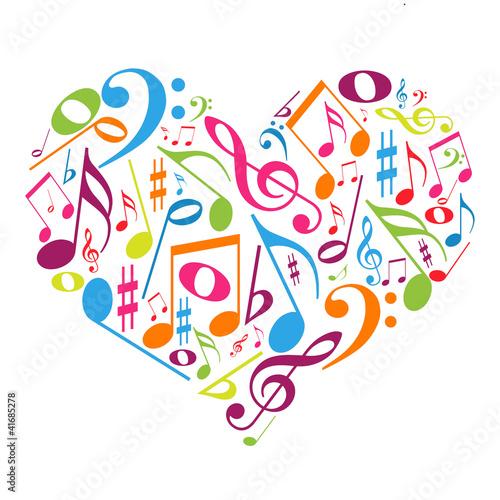 Naklejka premium Kolorowe serce z nutami - smakuje muzyka