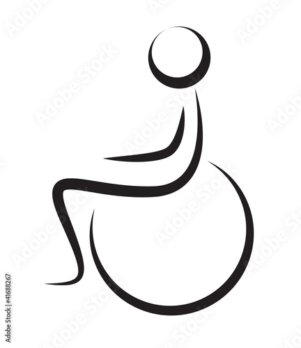 Silhouette Of Disabled Person On Wheelchair Isolated On