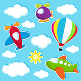 sky with air transport stickers