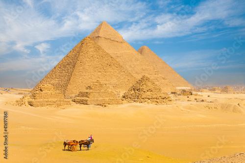 Egypt All Giza Pyramids Donkey Cart Family
