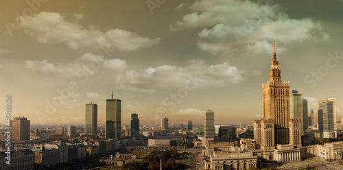 plakat Warszawa panorama