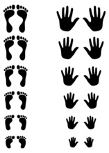 Foot And Palm Silhouettes Of T...