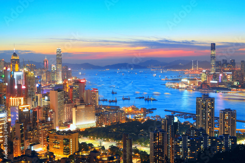 Foto op Plexiglas Chicago sunset in hong kong city