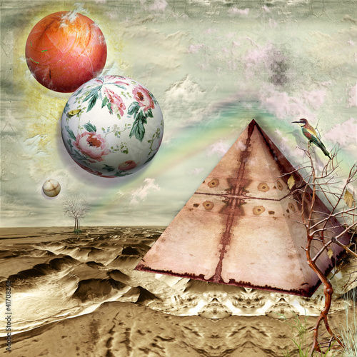 Surreal landscape with pyramid