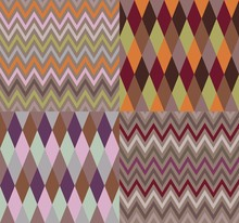 Set Of Argyle And Chevron Patt...