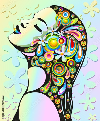 Ragazza Sensuale Pop Art-Psychedelic Girl's Floral Portrait Wallpaper Mural