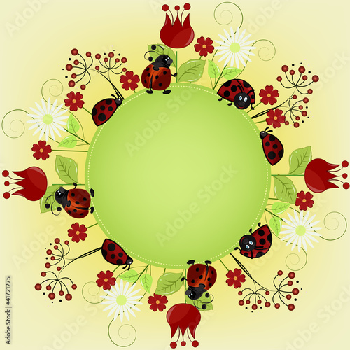 Foto op Plexiglas Lieveheersbeestjes Card sample with ladybugs and a flowers