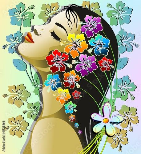Foto op Canvas Bloemen vrouw Donna Esotica Sensuale-Sensual Exotic Hibiscus Girl-Vector