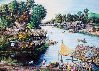 Panel Szklany Orientalny Thai life of oil painting