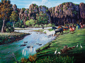 Fototapeta Rzeki i Jeziora Horse crossing the river of oil painting