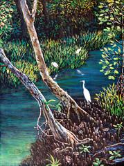 Fototapeta Ptaki Egret in the forest of oil painting