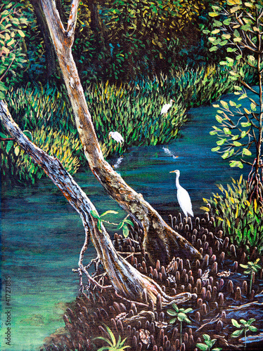 egret-w-lesie-obraz-olejny