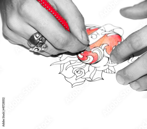Poster Rouge, noir, blanc Tatto artist drawing sketch