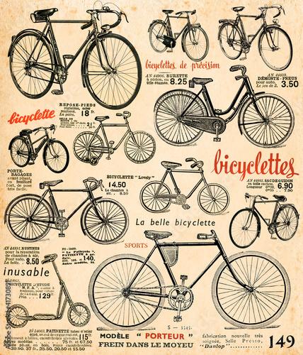 Fotobehang Kranten Bicyclettes