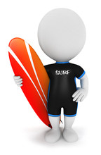 3d White People Surfer