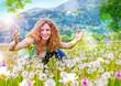 canvas print picture Mädchen wirft Pusteblumen in die Luft / dandelion-2