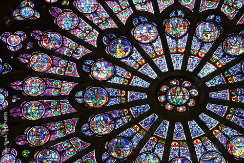 Aluminium Prints Stained Beautiful stained glass window in Notre Dame