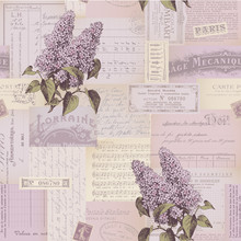Seamlessly Tiling Paper Collage Pattern With Lilac