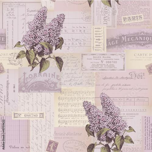 Naklejka na szafę Kolaż z kwiatami i dokumentami