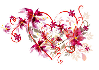 Fototapeta na wymiar Beautiful valentines heart design