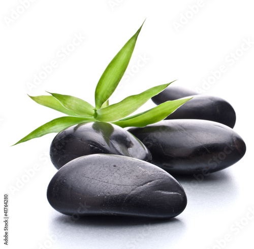 Photo  Zen pebbles. Stone spa and healthcare concept.