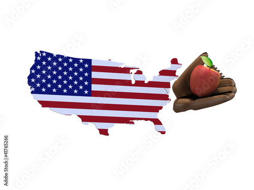Obraz na plátne american map with flag, baseball tools and apple