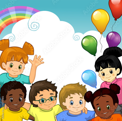 Spoed Foto op Canvas Regenboog Bambini arcobaleno insieme-Rainbow Children together