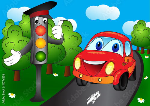 Foto op Canvas Cars Car and traffic light