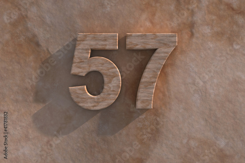 The number 57 carved from marble on marble base Canvas-taulu