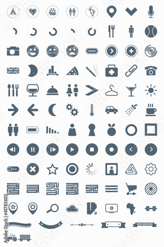 set vector icons signs symbols and pictograms EPS10 - Buy this stock