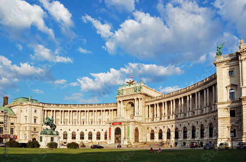 Photo Stands Vienna Austrian National Library under picturesque cloudy sky