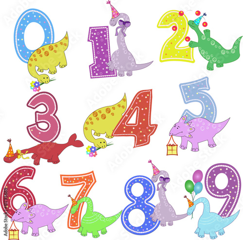 Stickers pour portes Hibou Set of color figures with dinosaurs