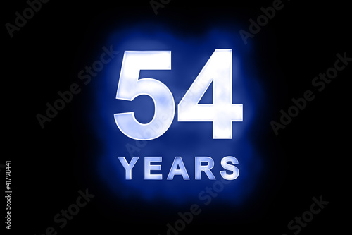 Fotografia  54 Years in glowing white numbers on blue