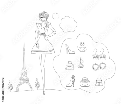 Photo sur Toile Doodle Paris fashion doodles set