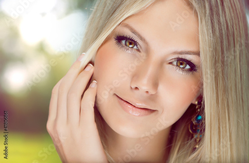 Fotografia, Obraz  Portrait of  beautiful young  woman with blonde hair close-up