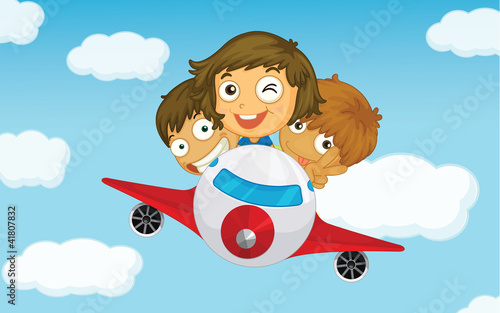 Autocollant pour porte Avion, ballon Kids on a plane