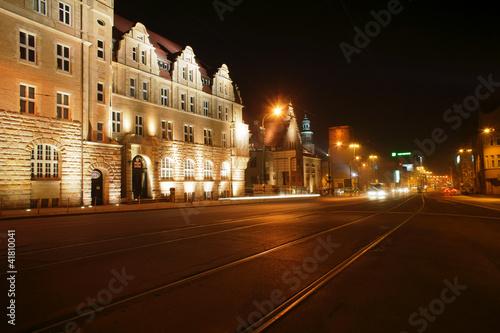 Ulica Św.Marcina w Poznaniu nocą