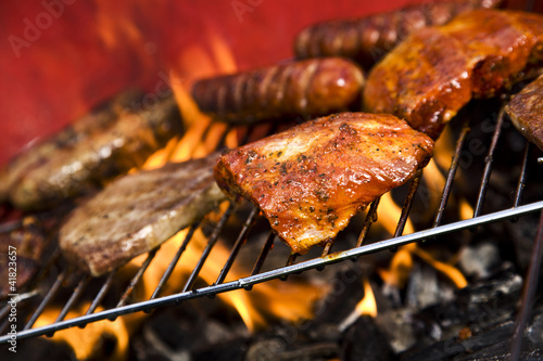 Aluminium Prints Grill / Barbecue Seafood on grill