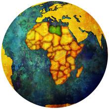 Libya Flag On Globe Map
