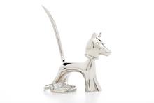 Silver Dog Bobble Head Ring Holder