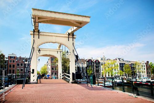 Fotobehang Amsterdam The Magere Brug, Skinny Bridge. Amsterdam