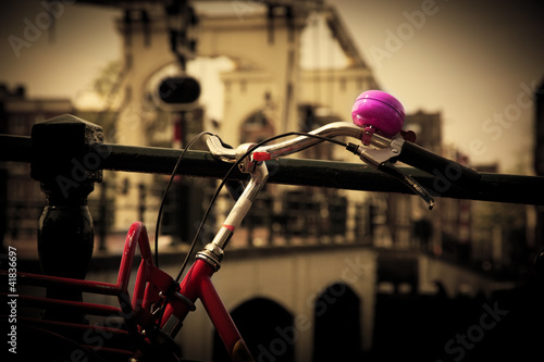 Photo  The Magere Brug, Amsterdam. Bike close up