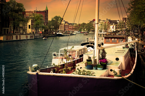 Photo  Amsterdam. Romantic canal, boats.