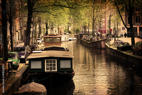 Staande foto Amsterdam Amsterdam. Romantic canal, boats.