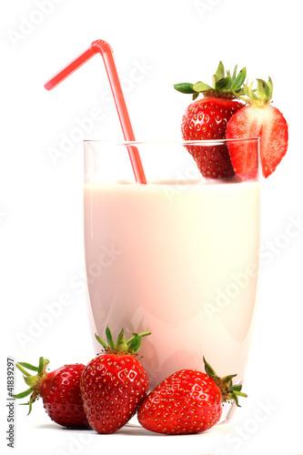 Deurstickers Milkshake Erdbeermilch