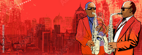two saxophonist over a background panoramic view of modern city
