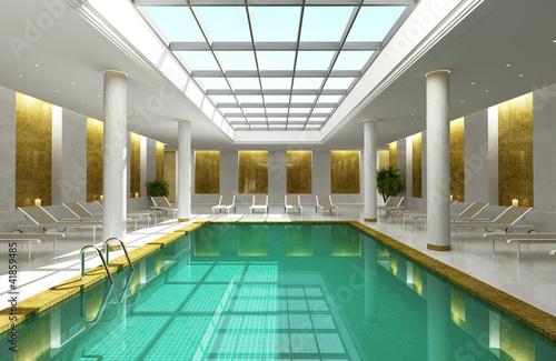 Indoor hotel spa swimming pool lounge interior room skylight ...