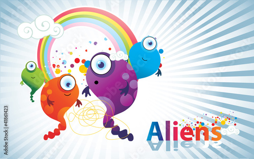 Photo Stands Butterflies aliens de color en vector
